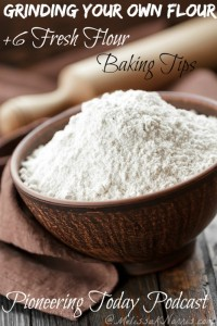 White flour in a bowl on a wooden table